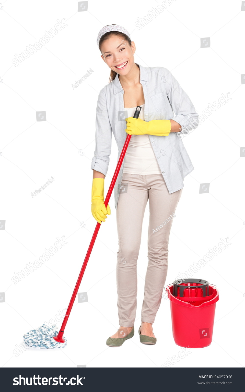 Cleaning Woman Washing Floor Mop Bucket Stock Photo