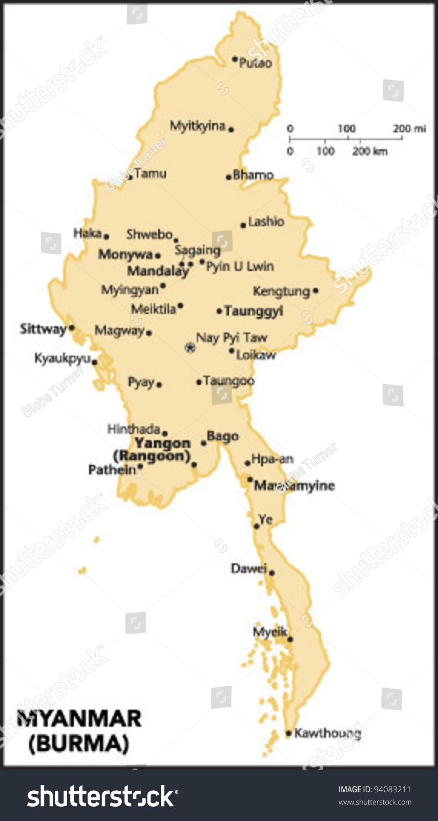 Myanmar Burma Country Map Stock Vector 2018 94083211 Shutterstock