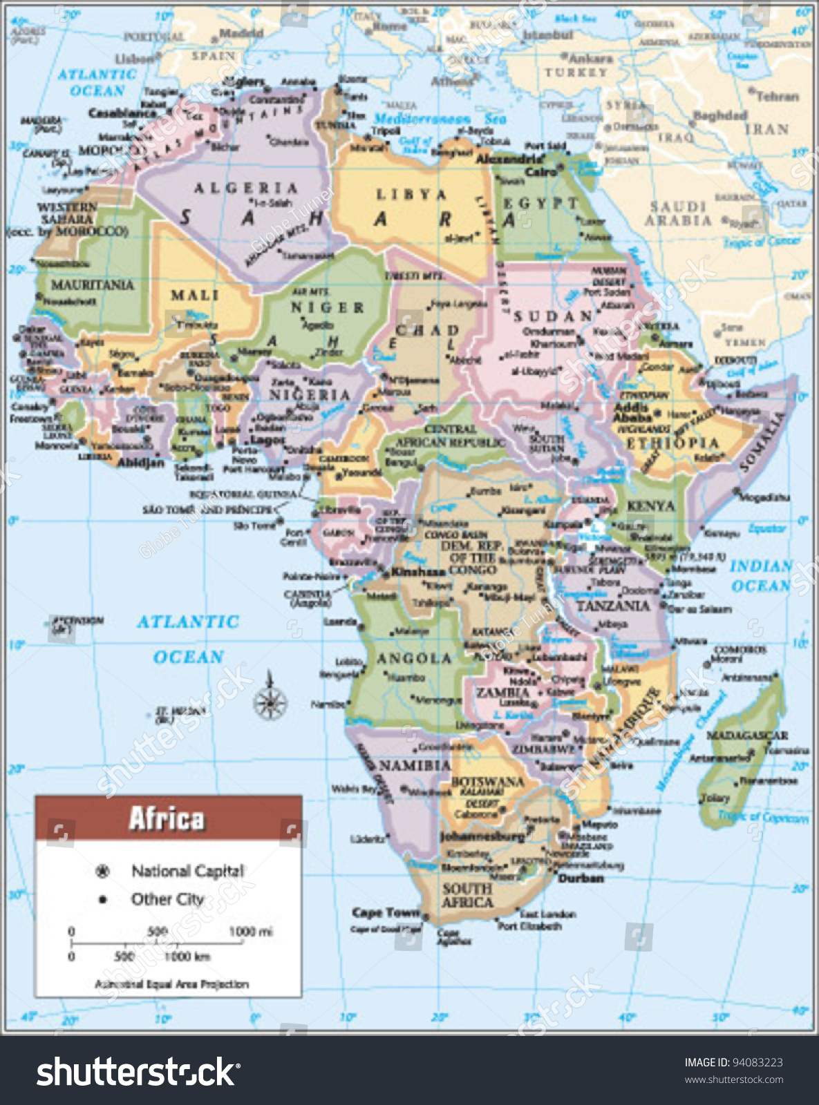 Africa Political Continent Map Includes South Stock Vector - What continent is sudan in
