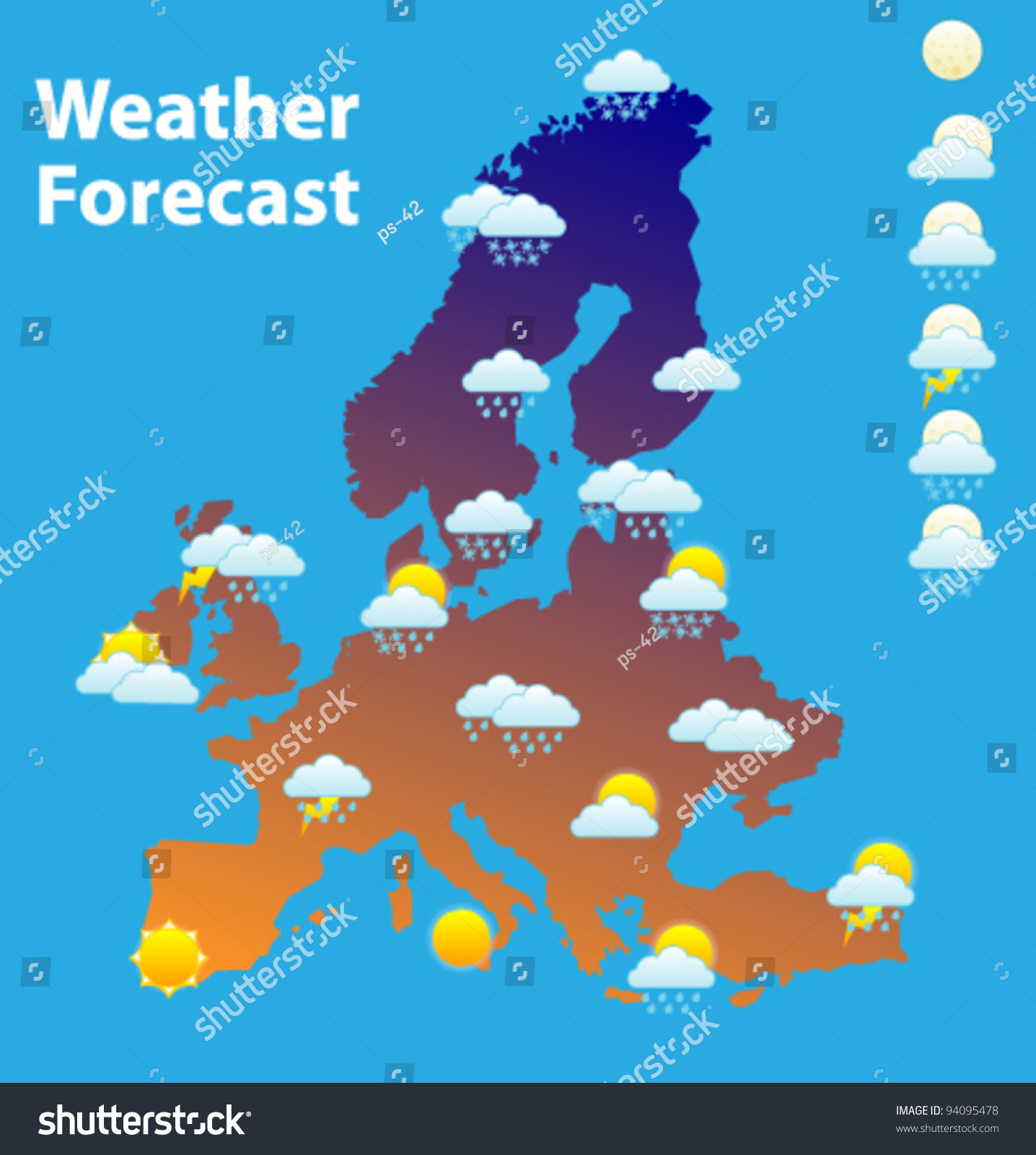 Weather Forecast Icons Set Europe Map Stock Vector Hd Royalty Free