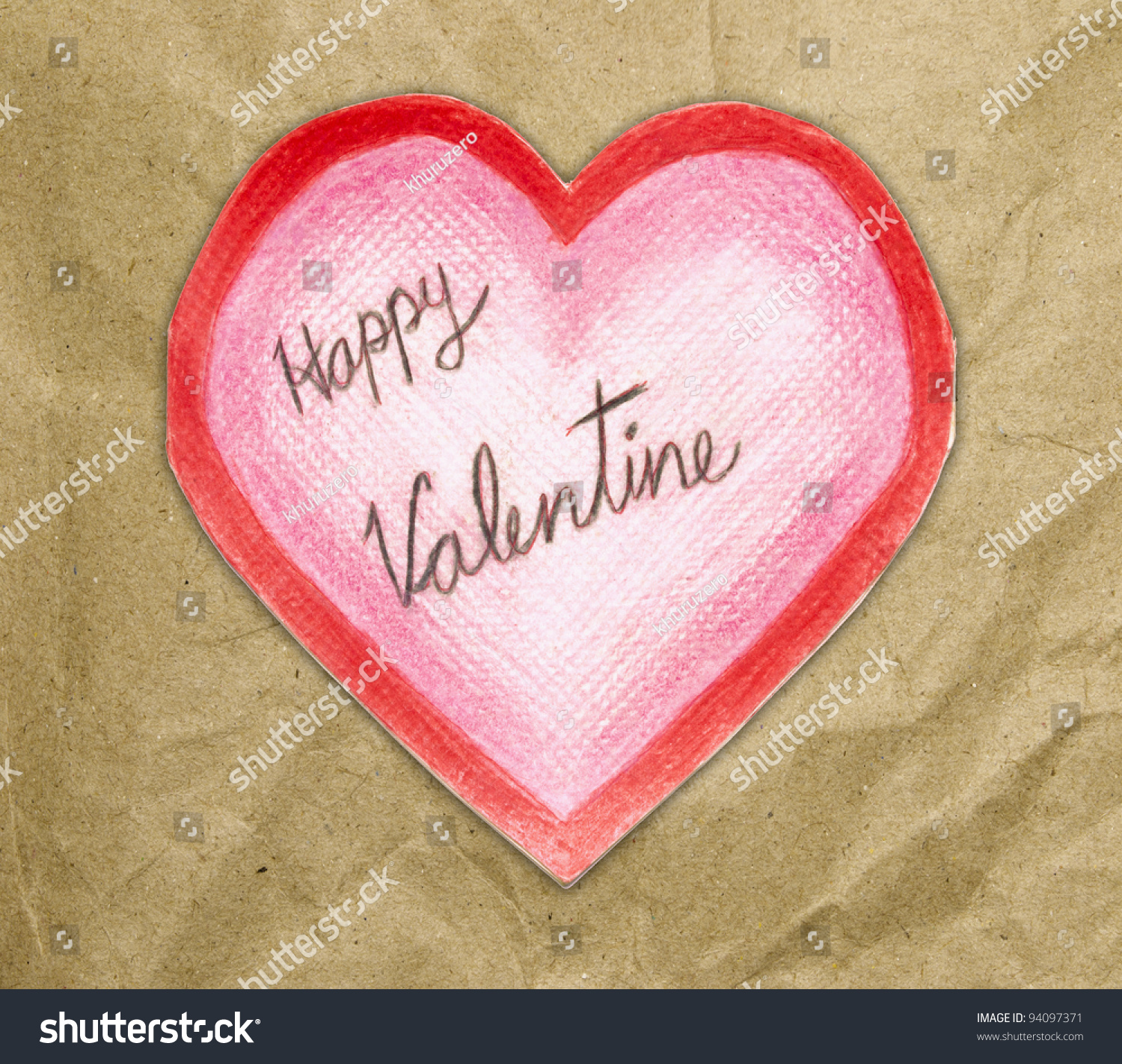 Handmade Valentine Card Heart On White Stock Illustration 94097371