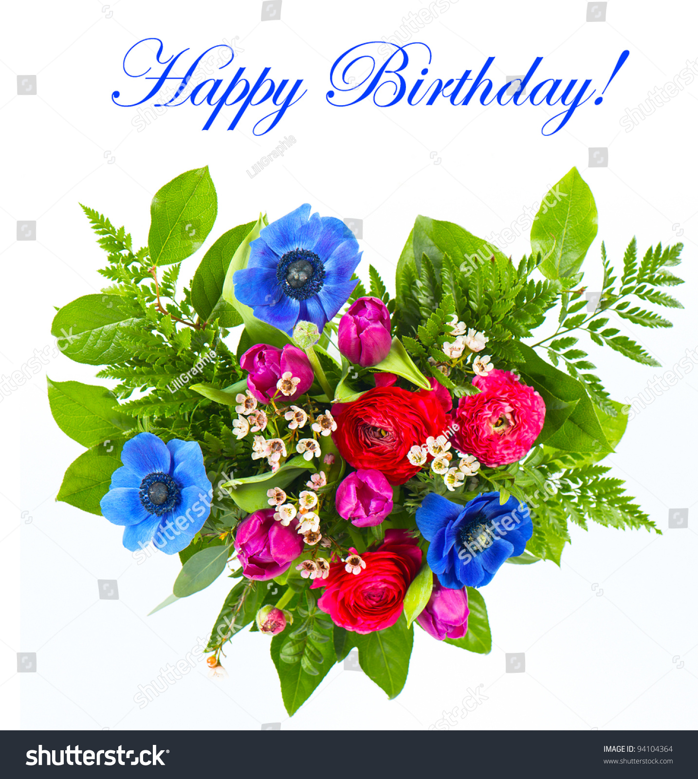 Happy Birthday Colorful Flowers Bouquet On Stock Photo (Edit Now ...
