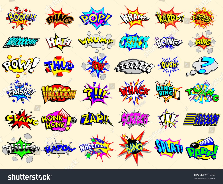 Cartoon Text Explosions Stock Vector 94117306 - Shutterstock