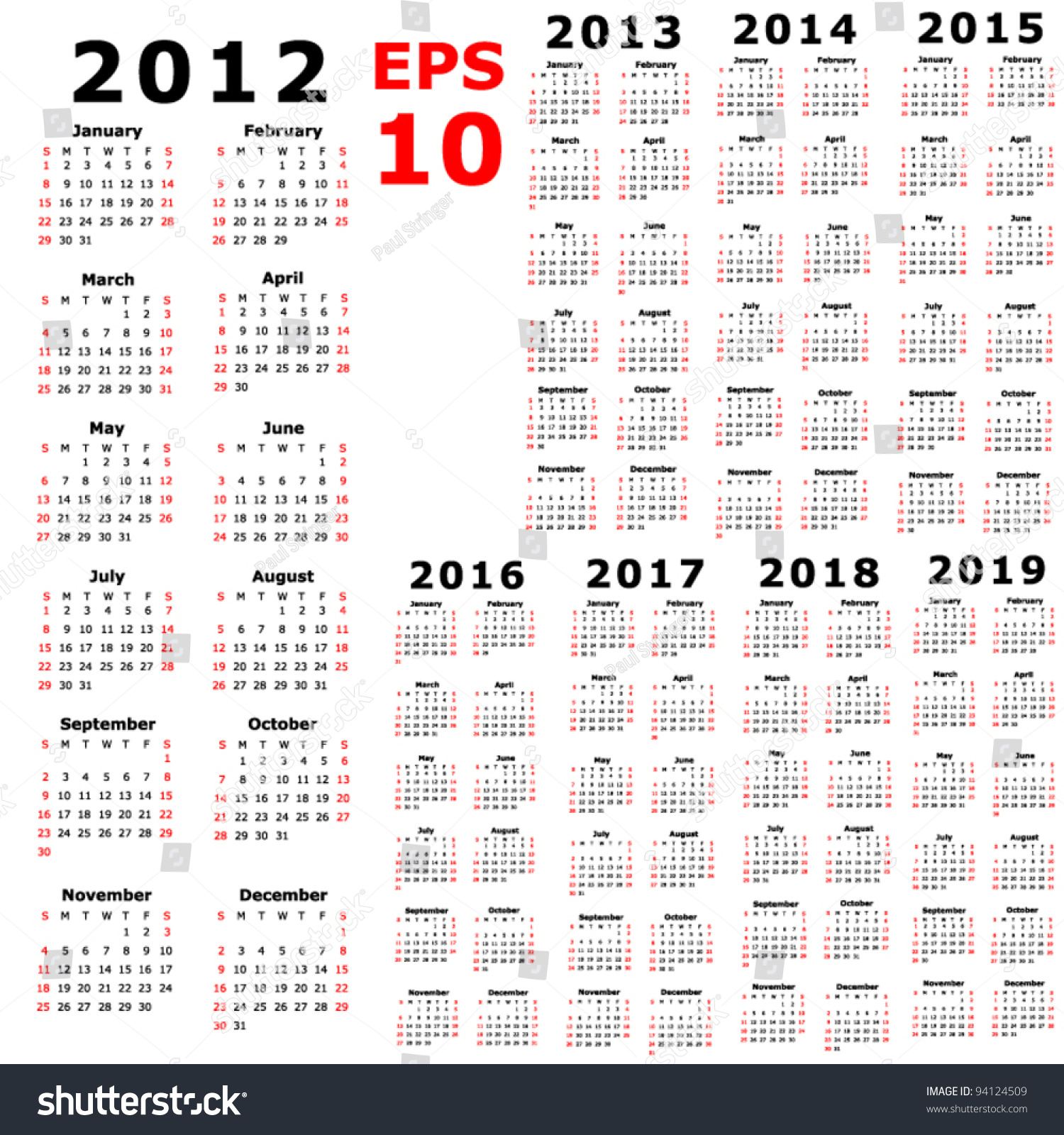 2013 And 2014 And 2019 Calendar Calendar 2012 2013 2014 2015 2016 Stock Vector (Royalty Free) 94124509