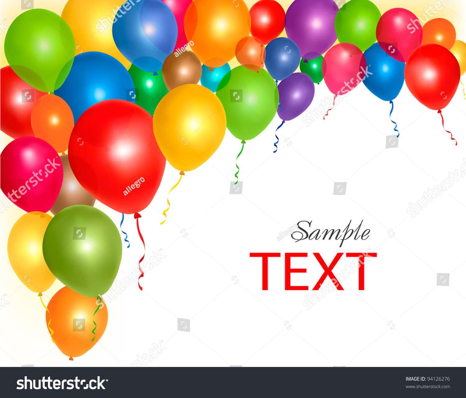 balloons frame composition with space for your text vector illustration