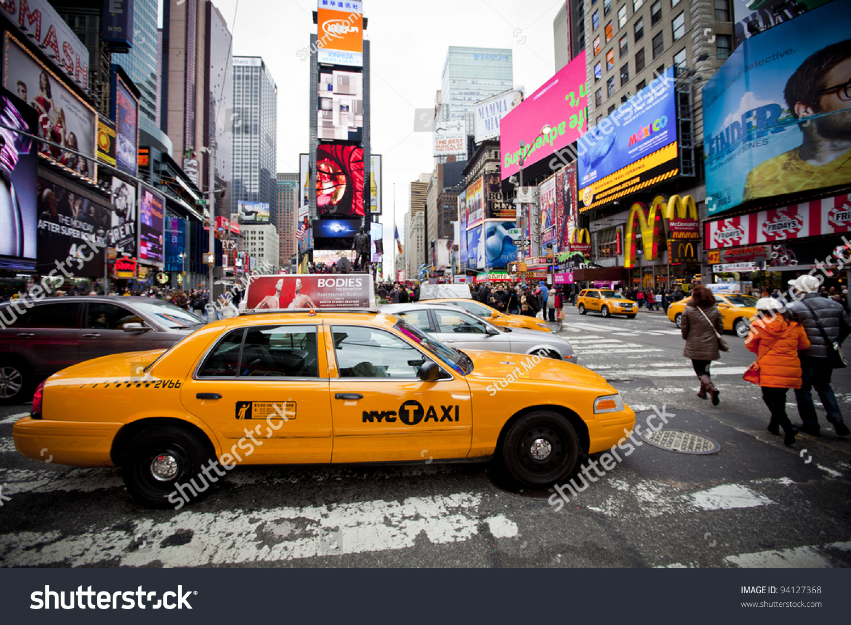 New York  December 17 Yellow Cab Speeds Through Times