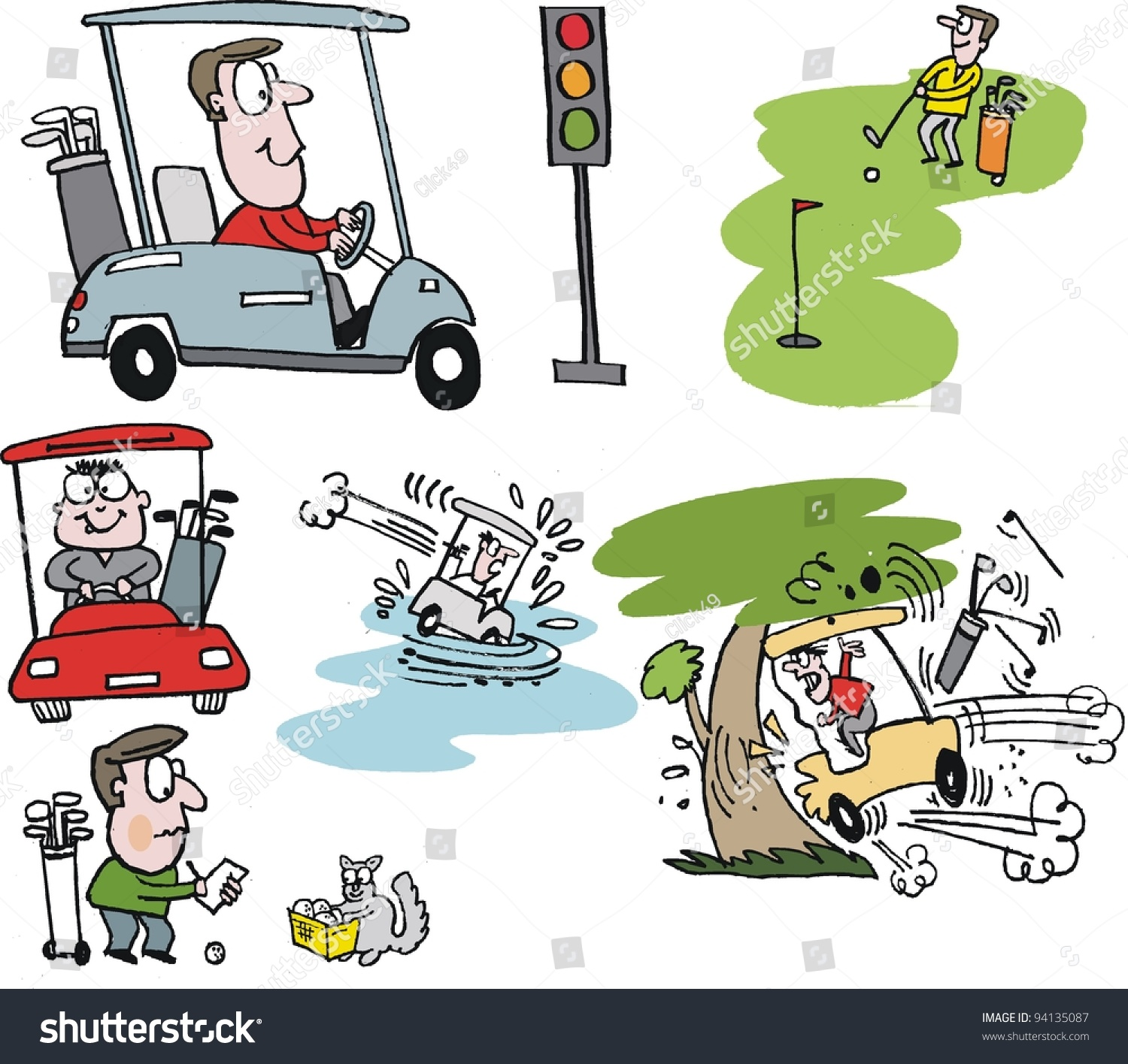 Golf Ball Selection Stock Vector Vector Cartoon Selection Of Golfers With