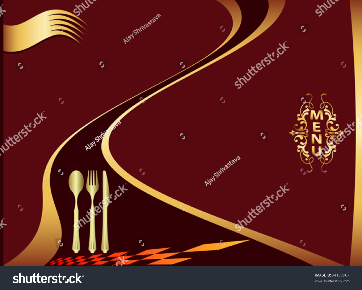 Hotel menu design template stock vector illustration for Frequent diner card template