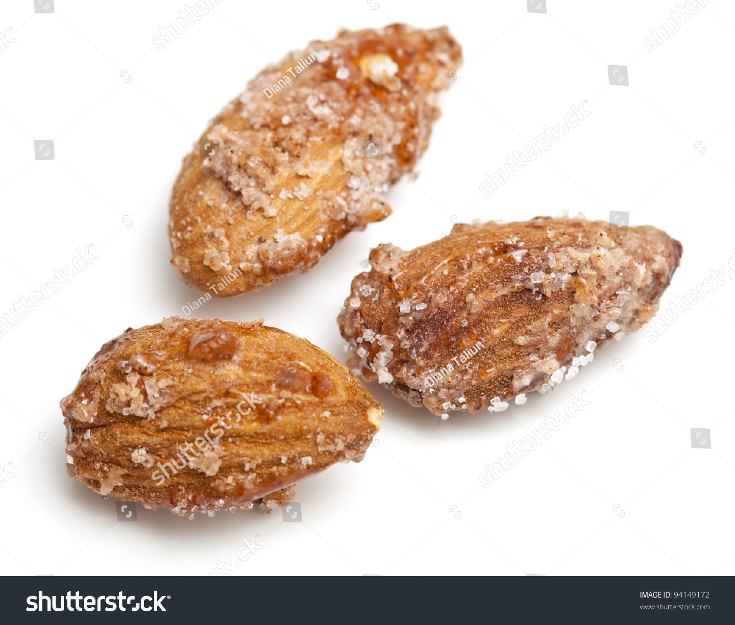 Fried Almonds With Sugar And Cinnamon Isolated On White Background ...