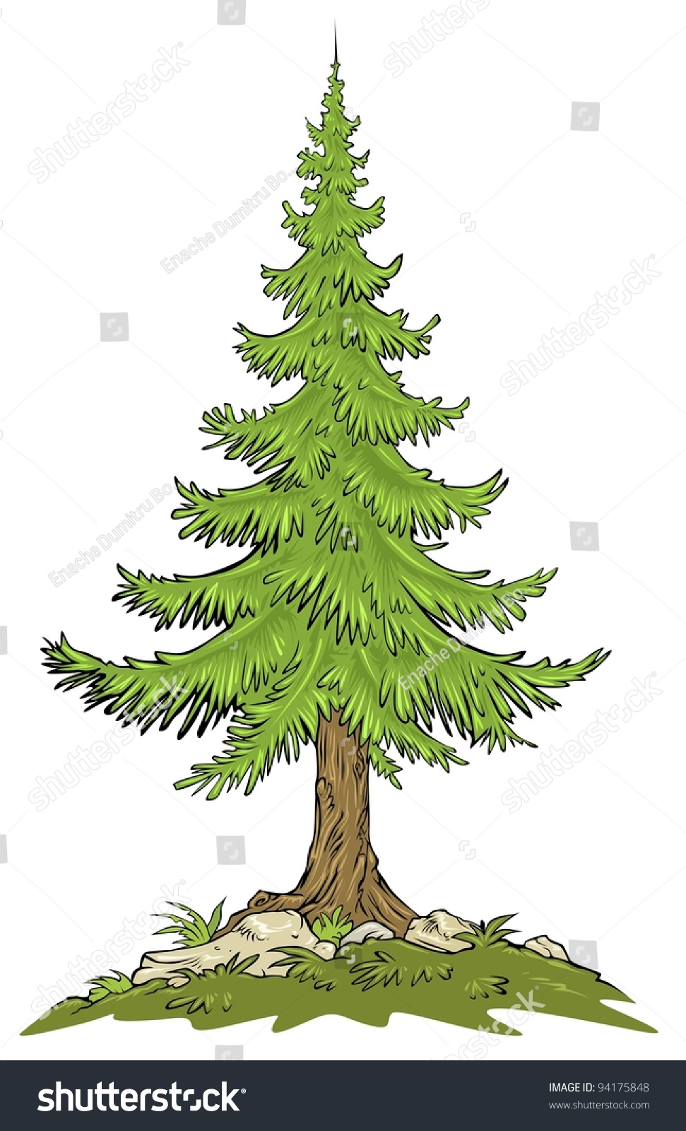 Нарисовать деревья и елки