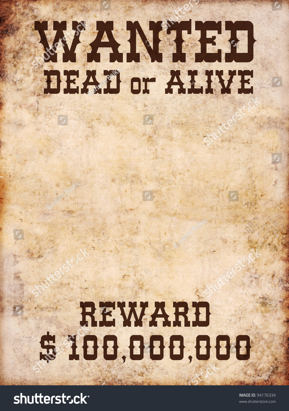 Wanted Poster Dead Alive Stock Illustration 94176334 Shutterstock