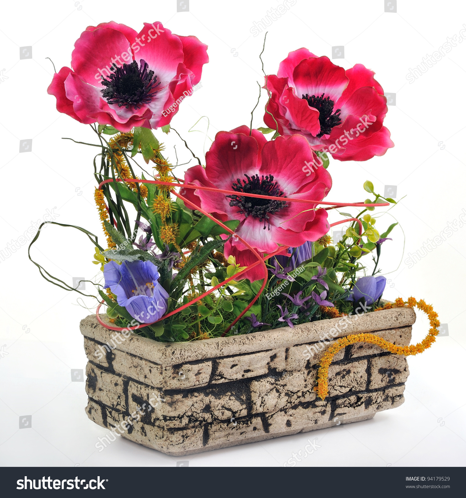 Flower Pots With Artificial Flowers Stock Photo Flower Pot With Artificial Flowers