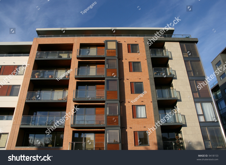 Nice Modern Apartment Building Dublin Ireland Blue Stock Photo 9418153
