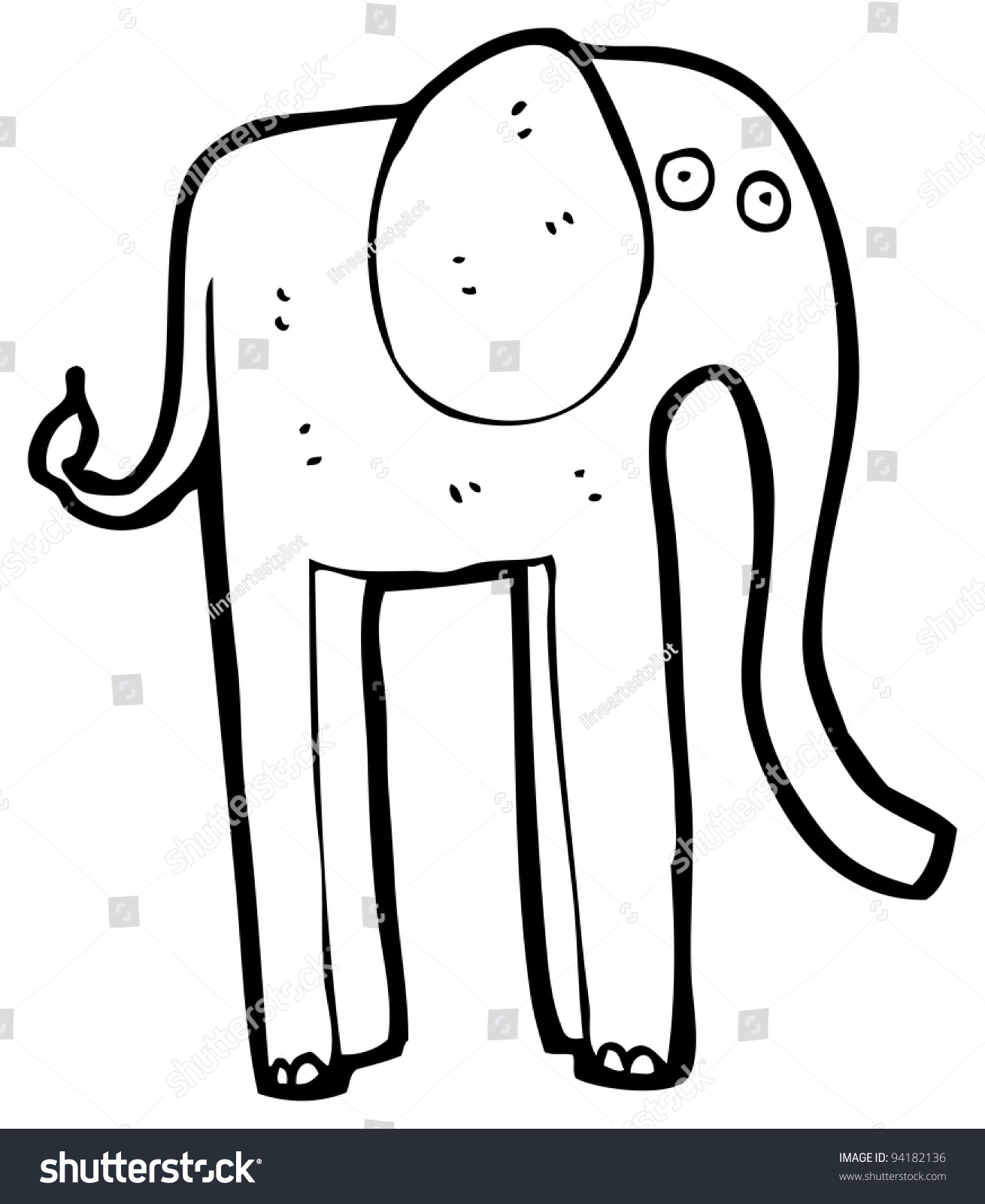 tall elephant cartoon raster version stock illustration 94182136