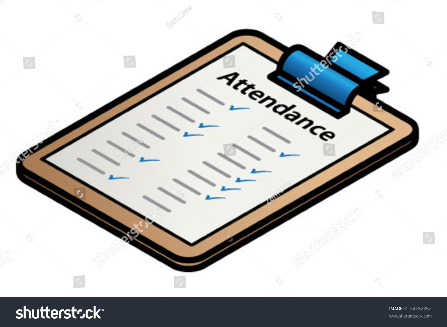 stock vector a clipboard with a form attendance 94182352
