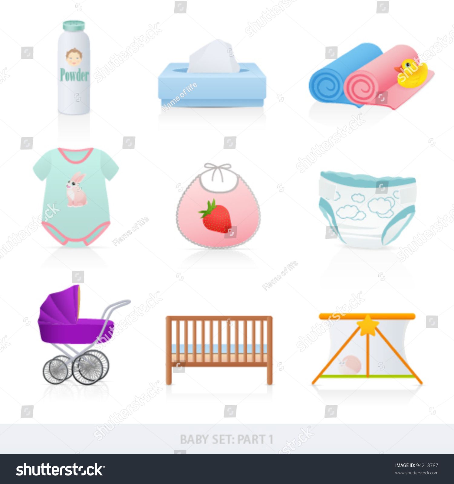 Vector Set Baby Icons Newborn Isolated Stock Vector 94218787 ...