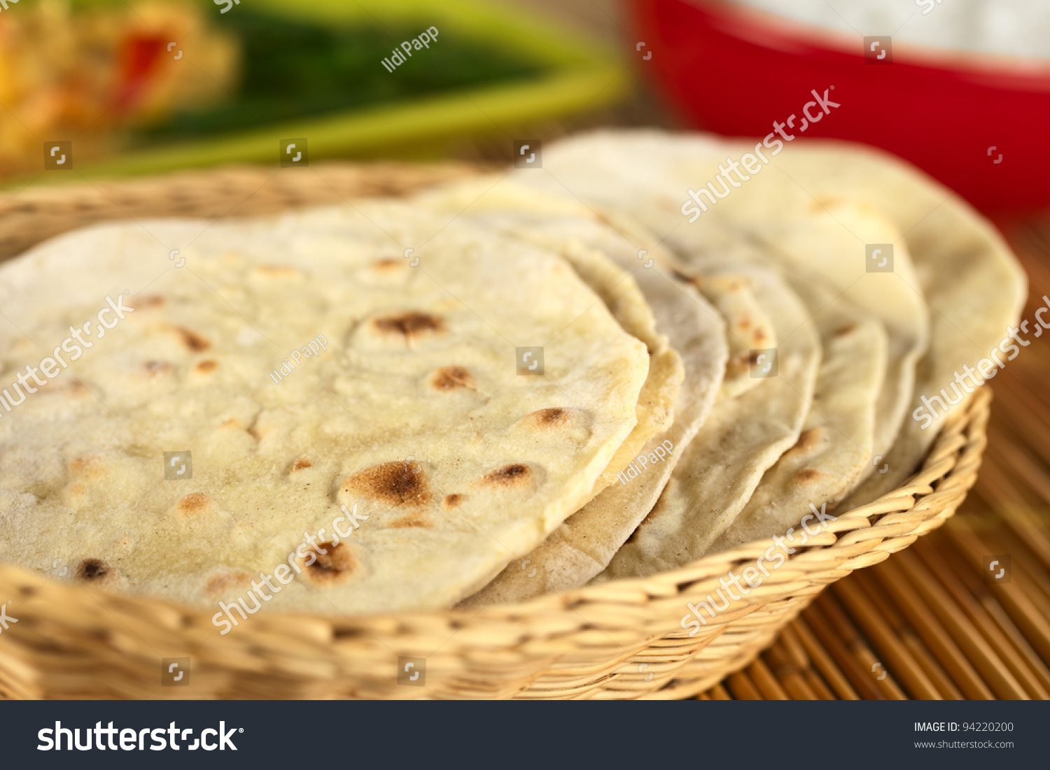 Indian flat-bread called chapati in basket (Selective Focus, Focus on ...