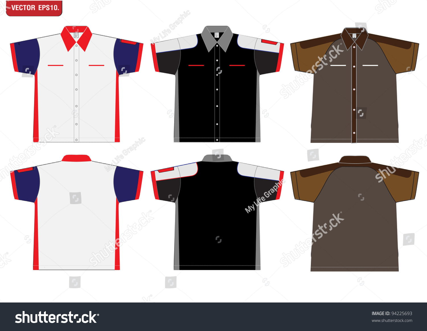 Shirt design with collar - T Shirt Design Vector Template Front And Back View