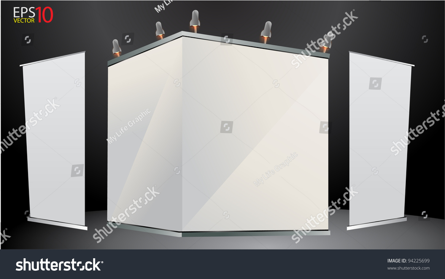 Pop Up Exhibition Stand Mockup Free : Blank trade exhibition stand banner stock vector
