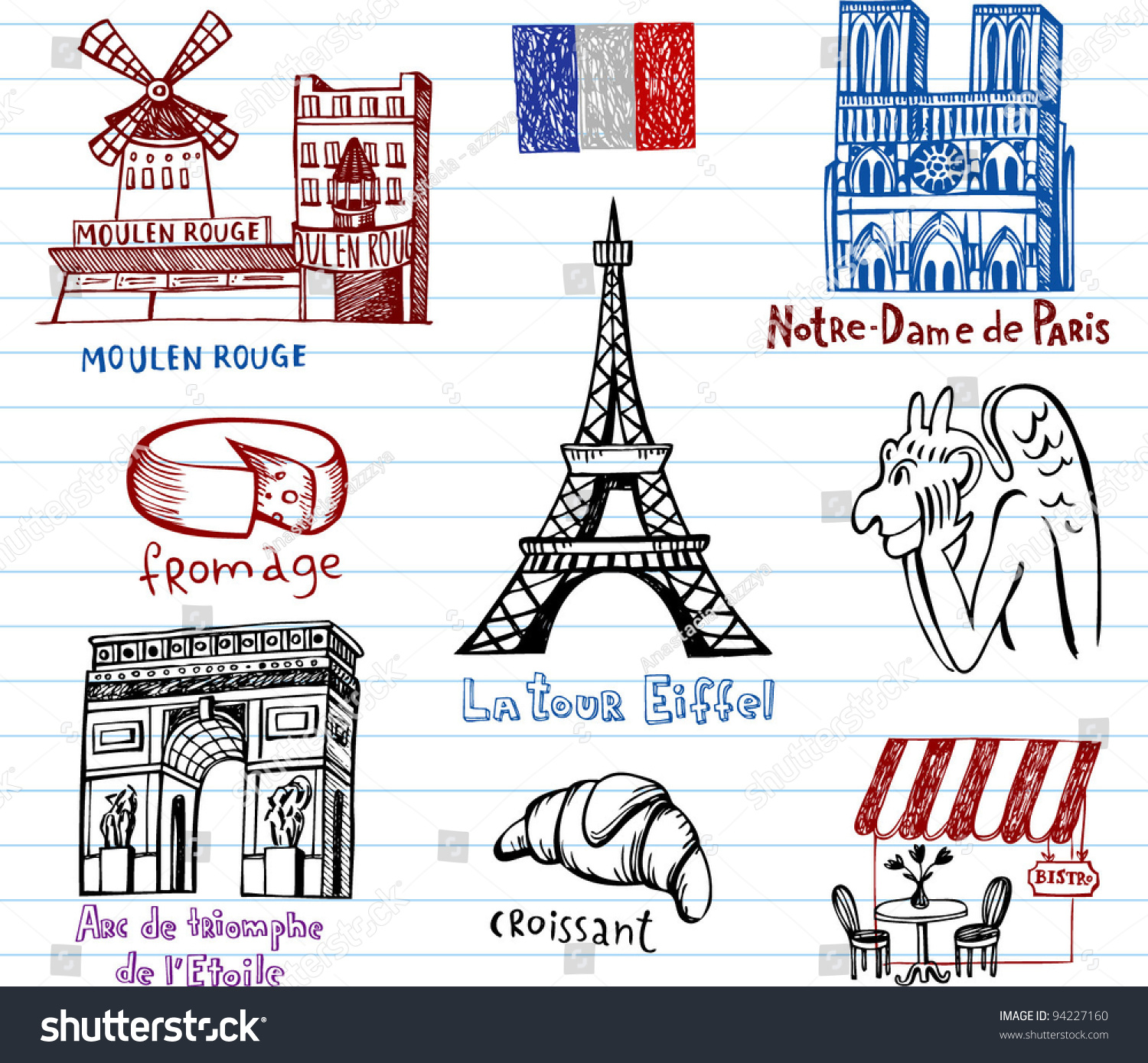 Symbols France Simple Drawing Style Stock Vector Royalty Free