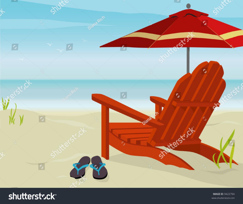 Adirondack chair beach - Adirondack Chair And Market Umbrella At Beach Easy Edit Layered File