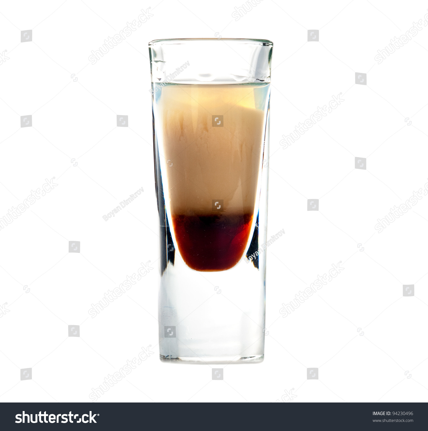 B 52 Cocktail Shot Isolated On White Background Stock