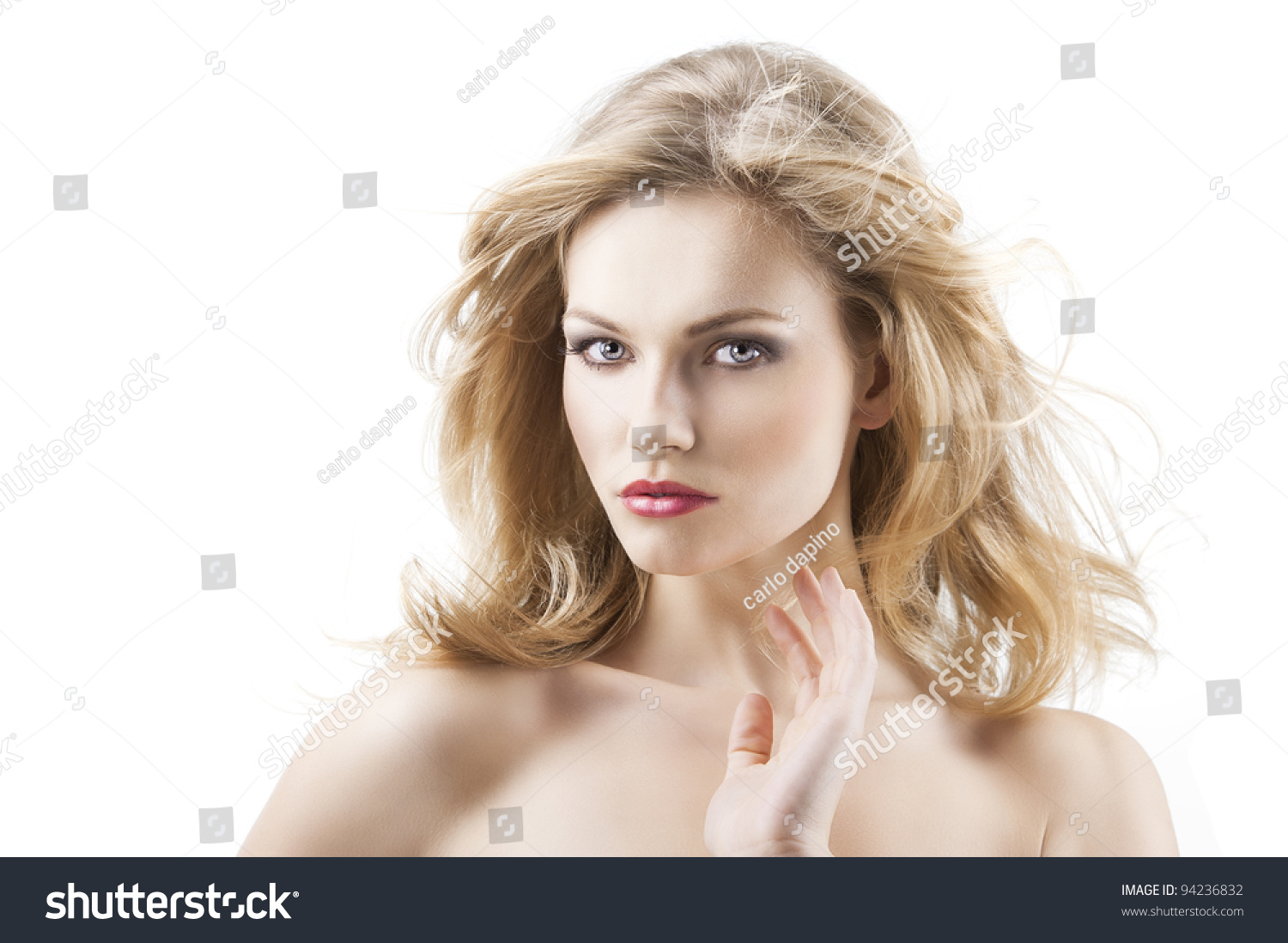 Classic Beauty Portrait Of Young Sexy Girl With Hairstyle And Flying