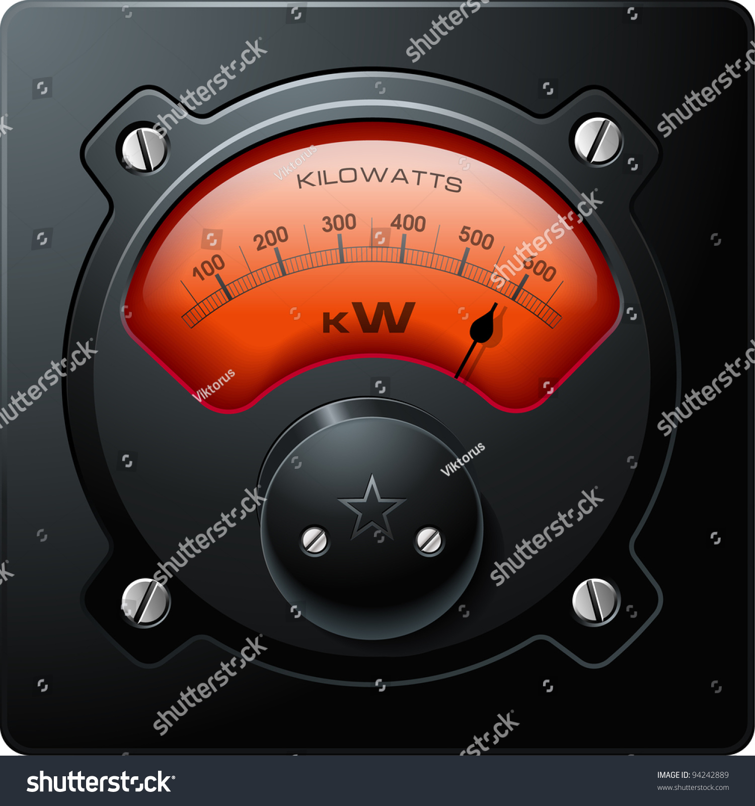 Analog Electric Meter : Analog electrical meter red realistic detailed vector