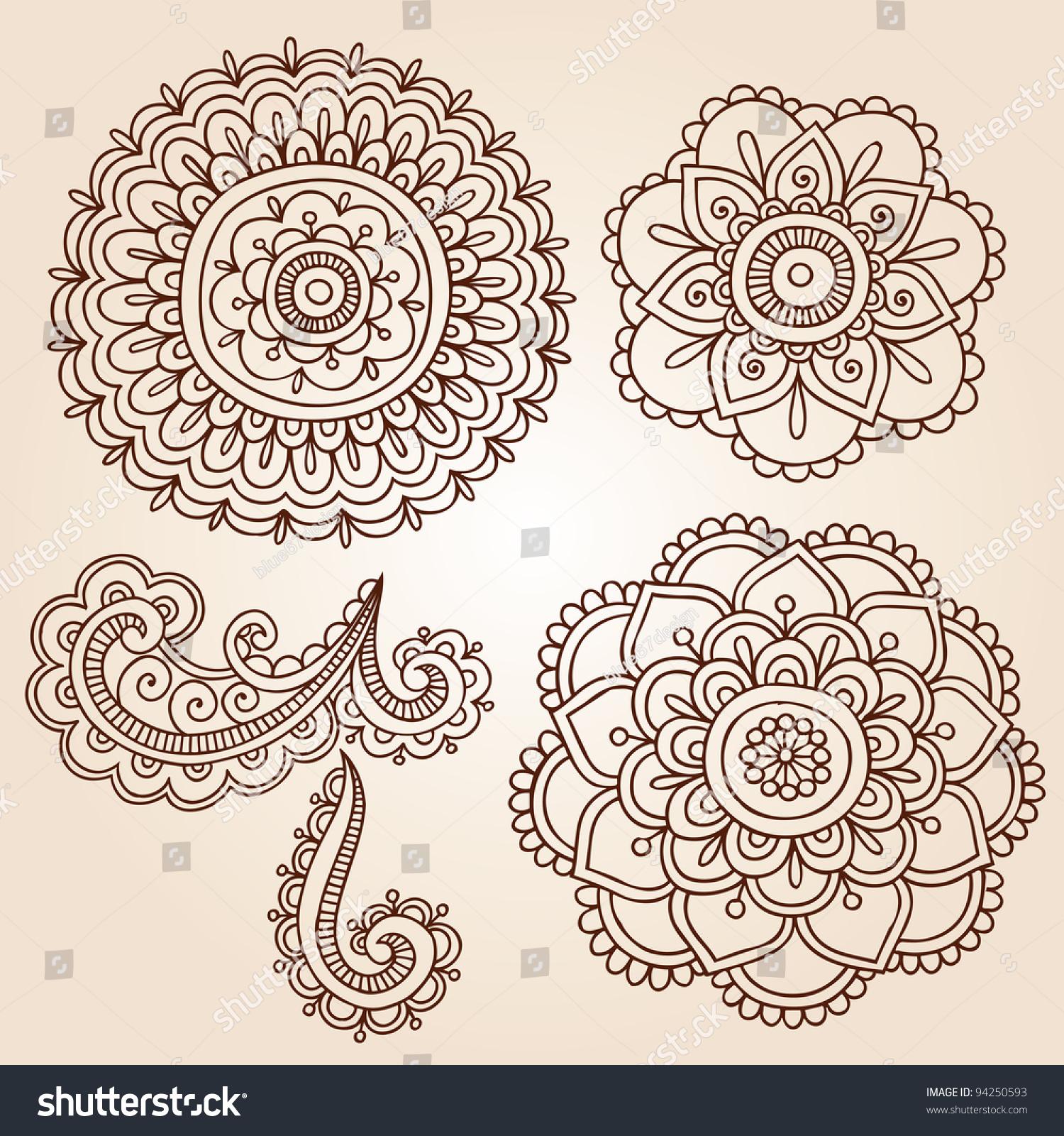 henna mehndi flower doodles abstract floral paisley design elements vector illustration. Black Bedroom Furniture Sets. Home Design Ideas