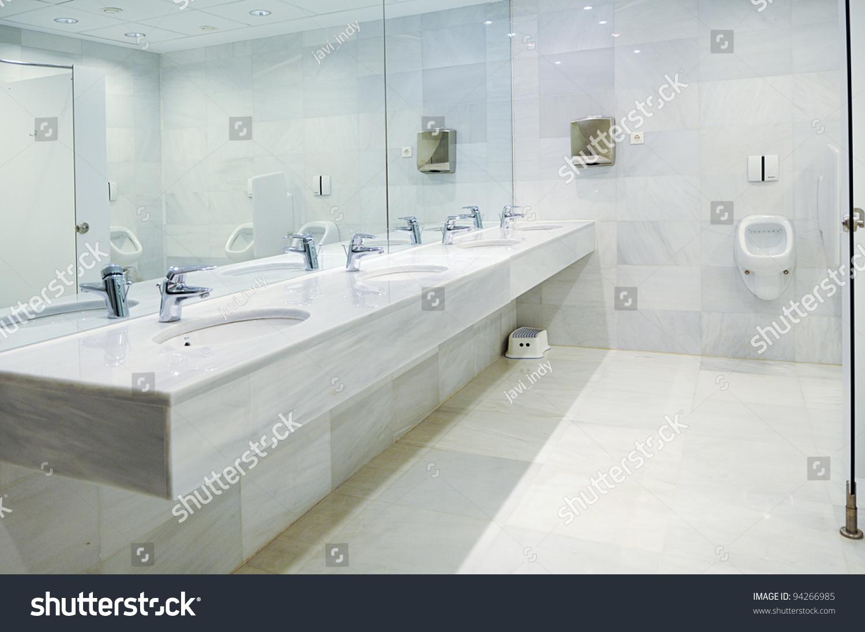 Public Empty Restroom Washstands Mirror Stock Photo ...