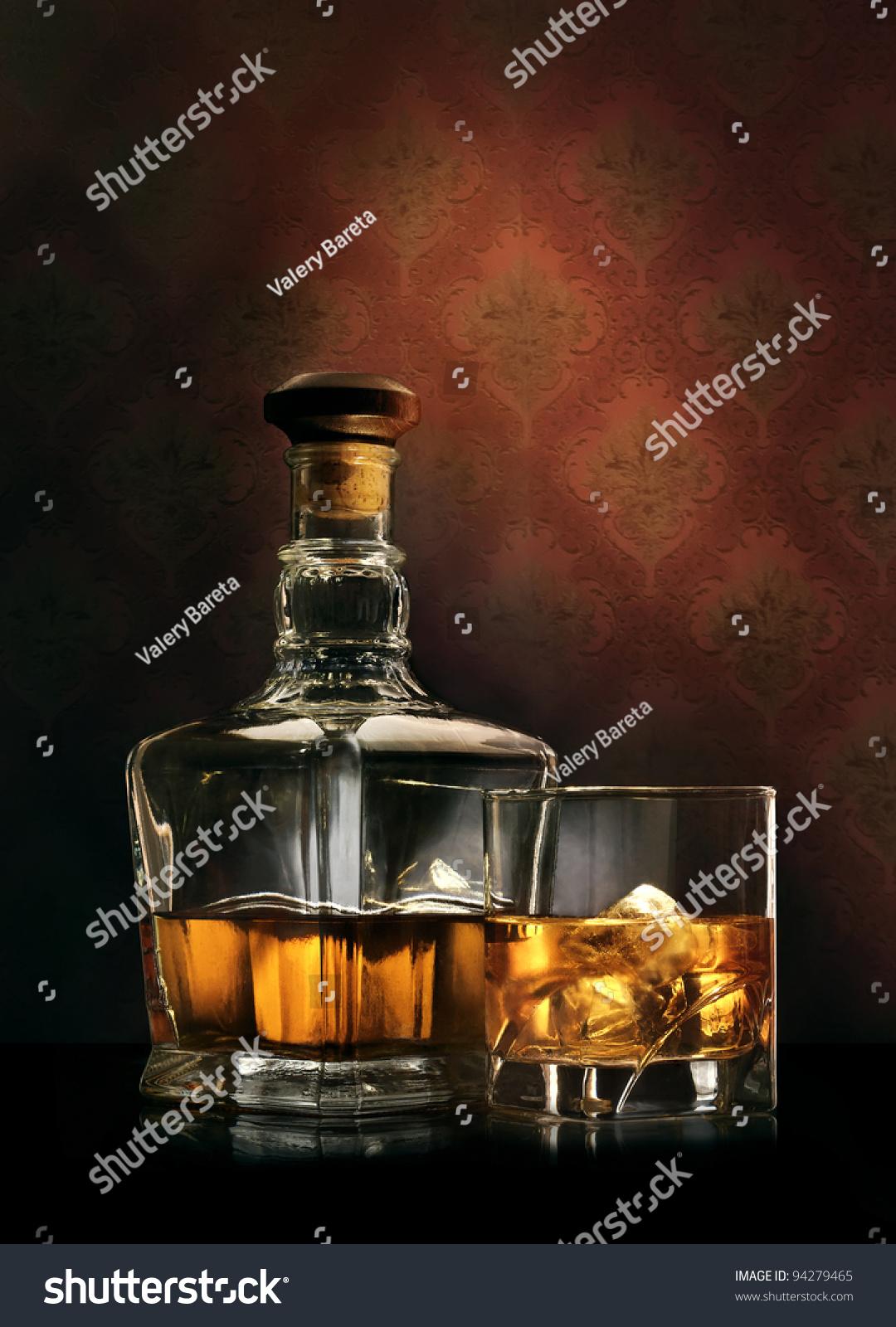 Bottle Glass Whisky Ice On Wallpaper Stock Photo 94279465 ...