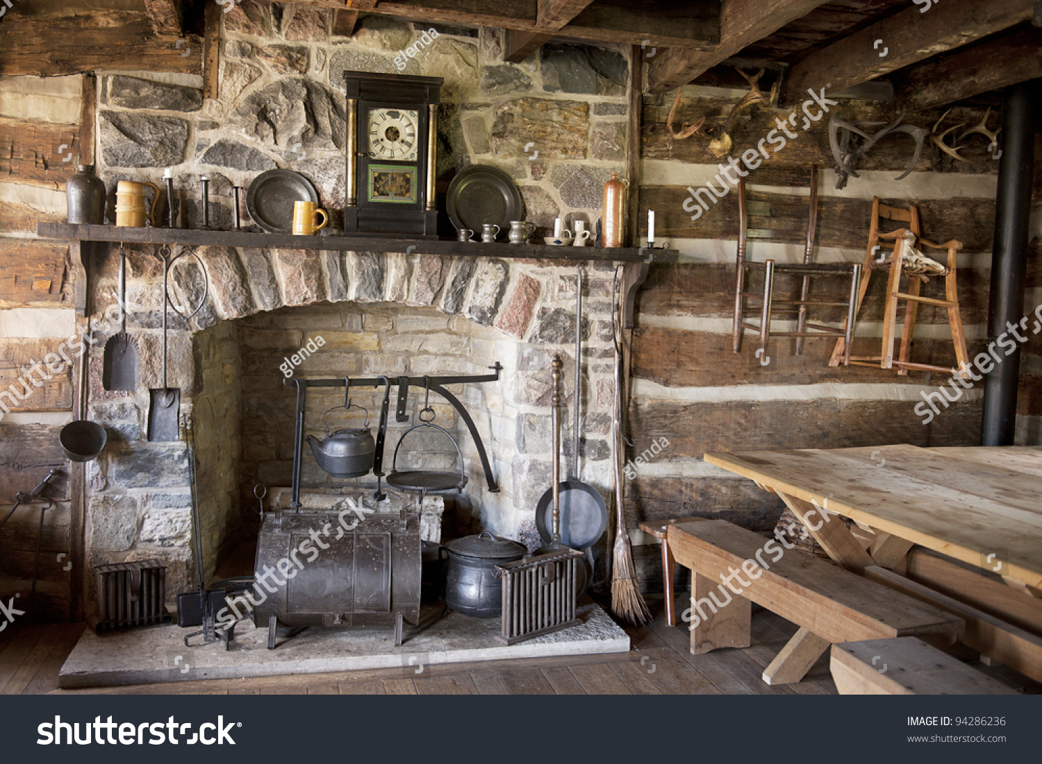 fireplace utensils old pioneer log home stock photo 94286236