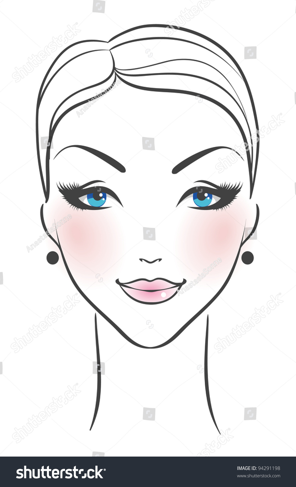 Vector Illustration Female Face Front Stock Vector