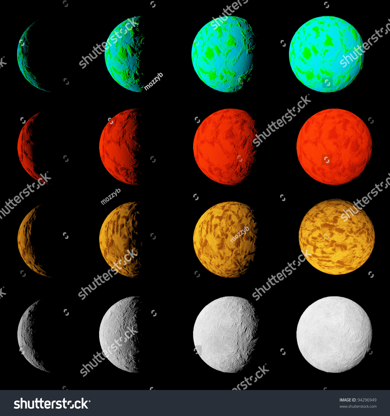 Phase Lighting Different Planets Planets Deep Stock Illustration ...