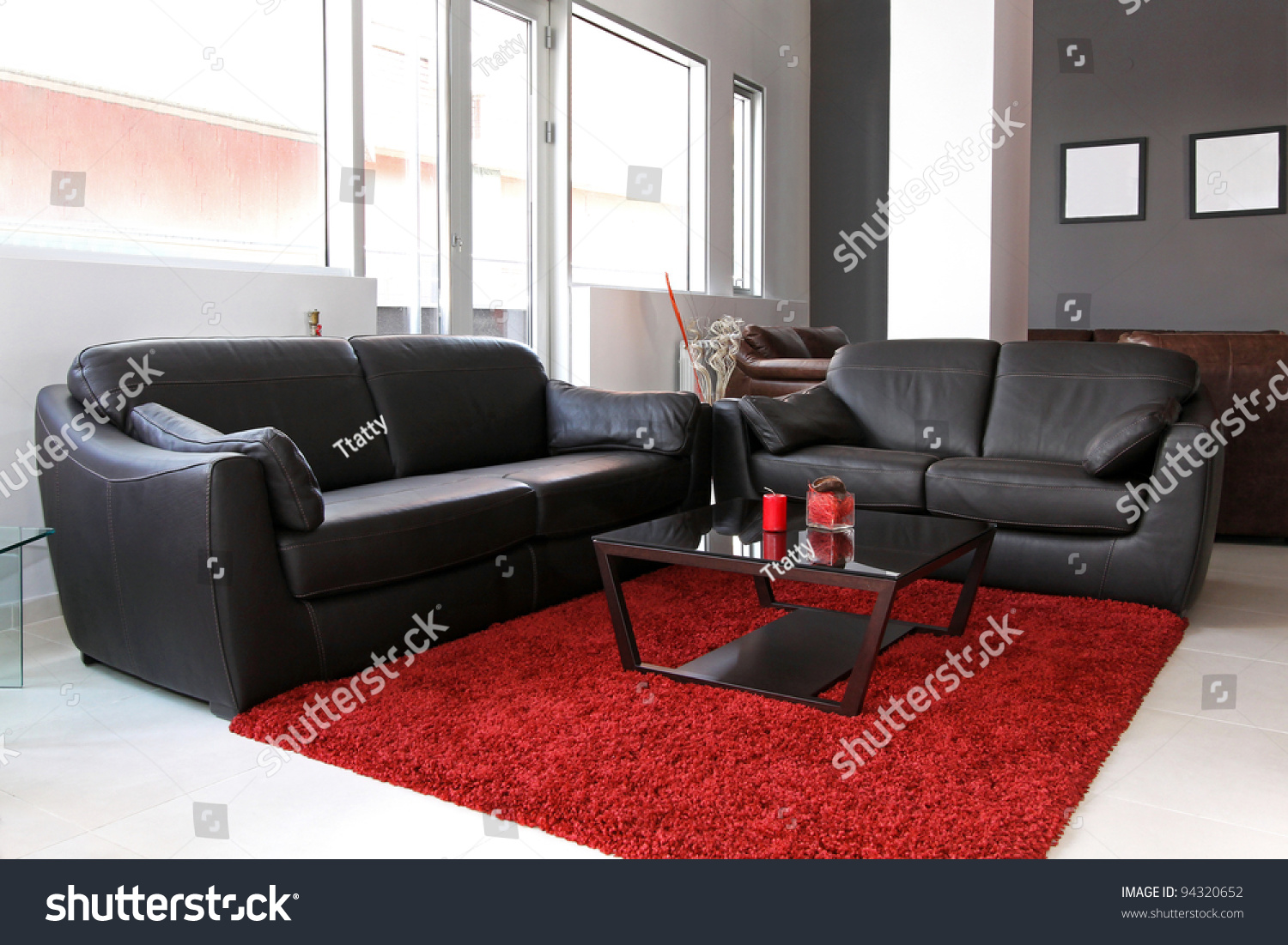 small living room interior with leather furniture stock photo 94320652