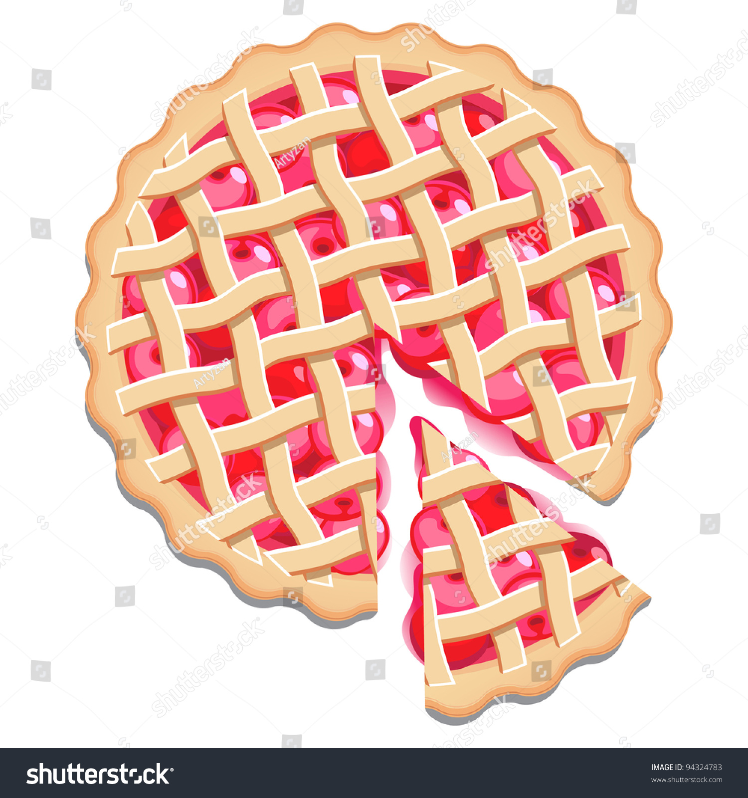 Cake Clipart Top View : Cherry Pie Slice Elevated View Stock Vector 94324783 ...