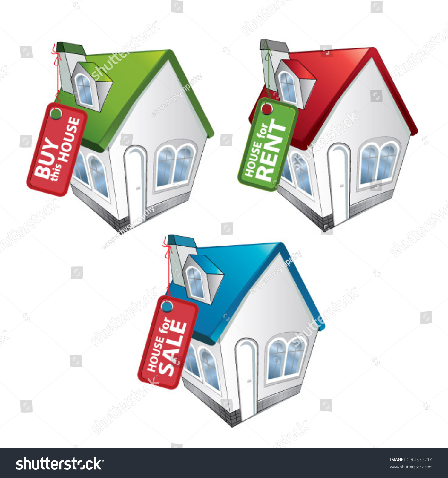 House Buy Rent Sale House Stock Vector 94335214
