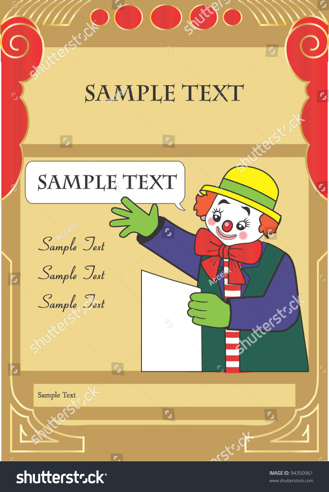 Happy Clown Party Invitation Template Kids Stock Vector Royalty