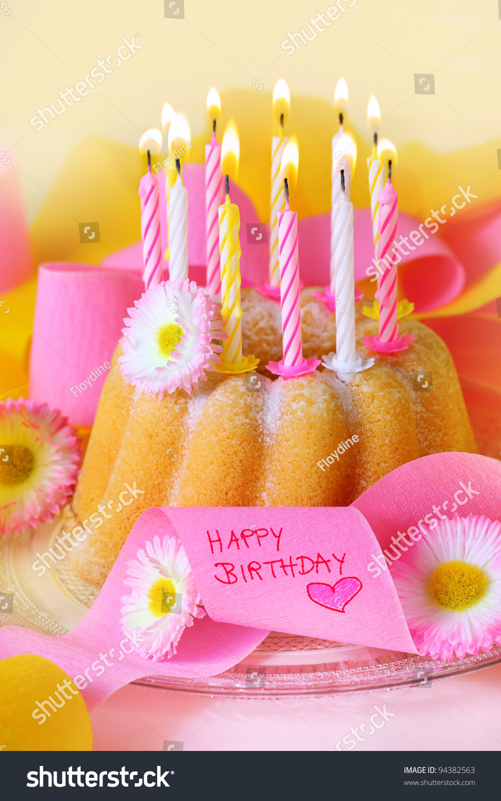 Happy birthday birthday cake flowers candles stock photo edit now happy birthday birthday cake with flowers candles and ribbons inscription happy birthday in izmirmasajfo