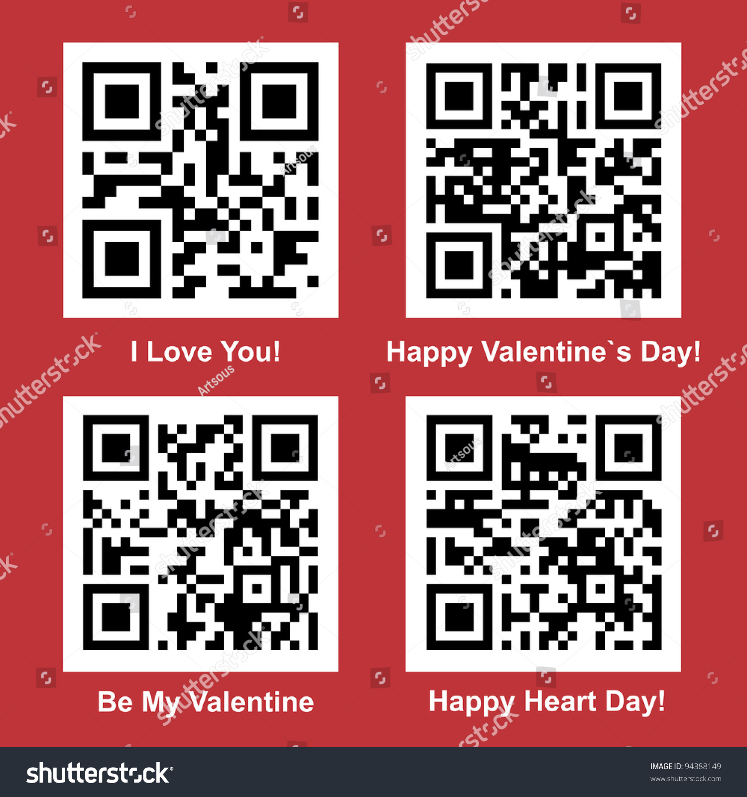 Poster design with qr code - Love And Valentine Day Readable Vector Qr Code Collection For Your Design