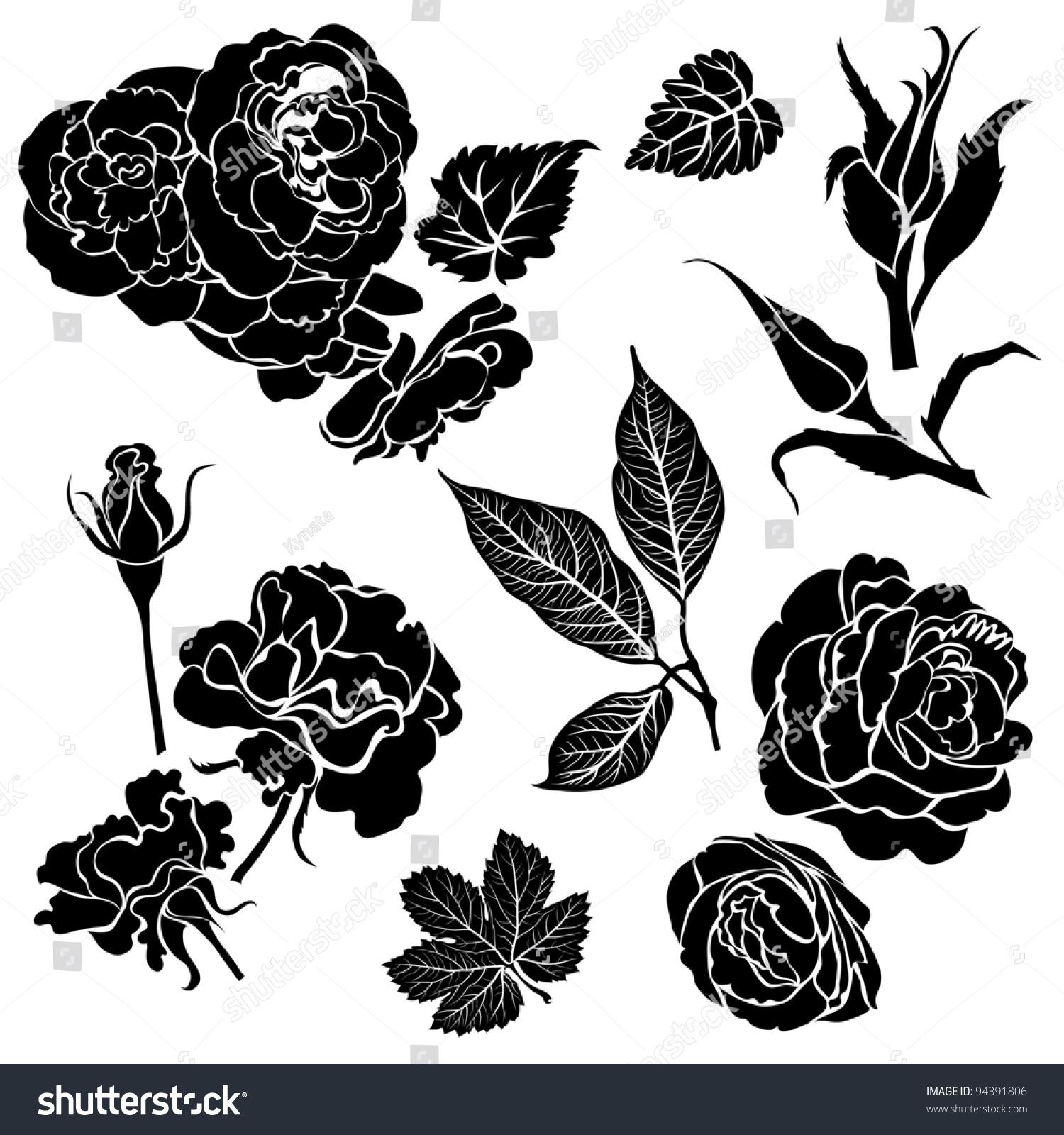 Set Of Black Flower Design Elements Stock Vector: Set Of Black Floral Design Elements
