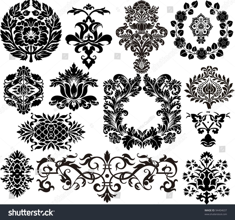 Damask Elements Stock Vector Illustration 94404637 ...