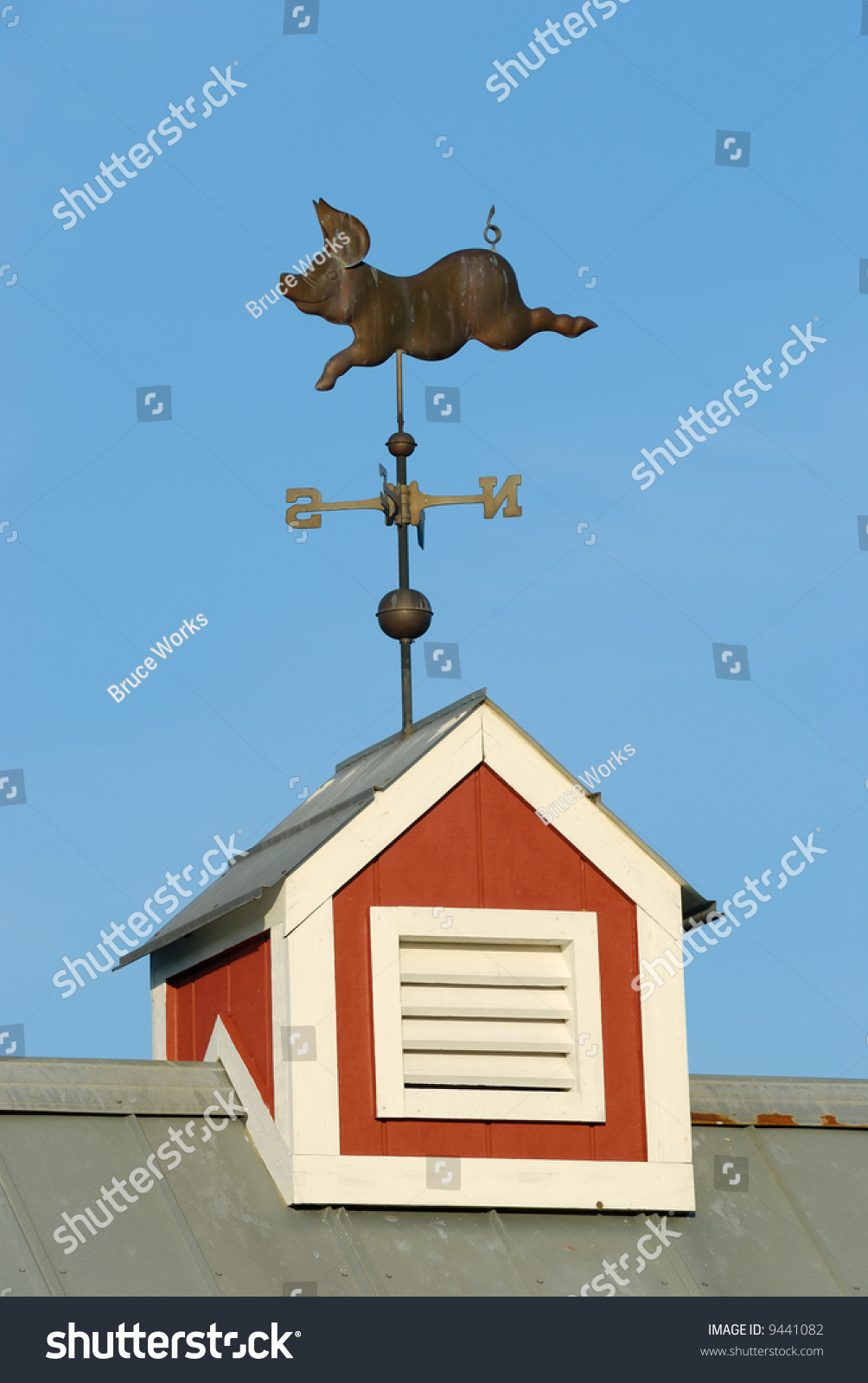 Pig Weather Vane On Red Cupola Stock Photo 9441082