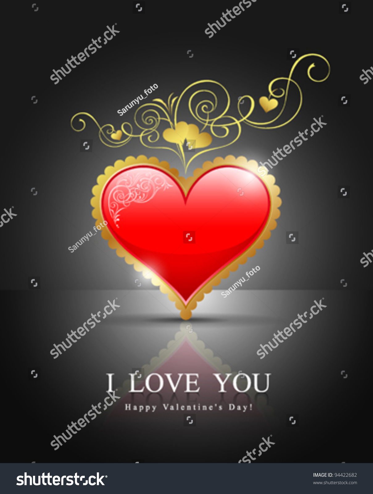 modern red gold heart happy valentines stock vector 94422682