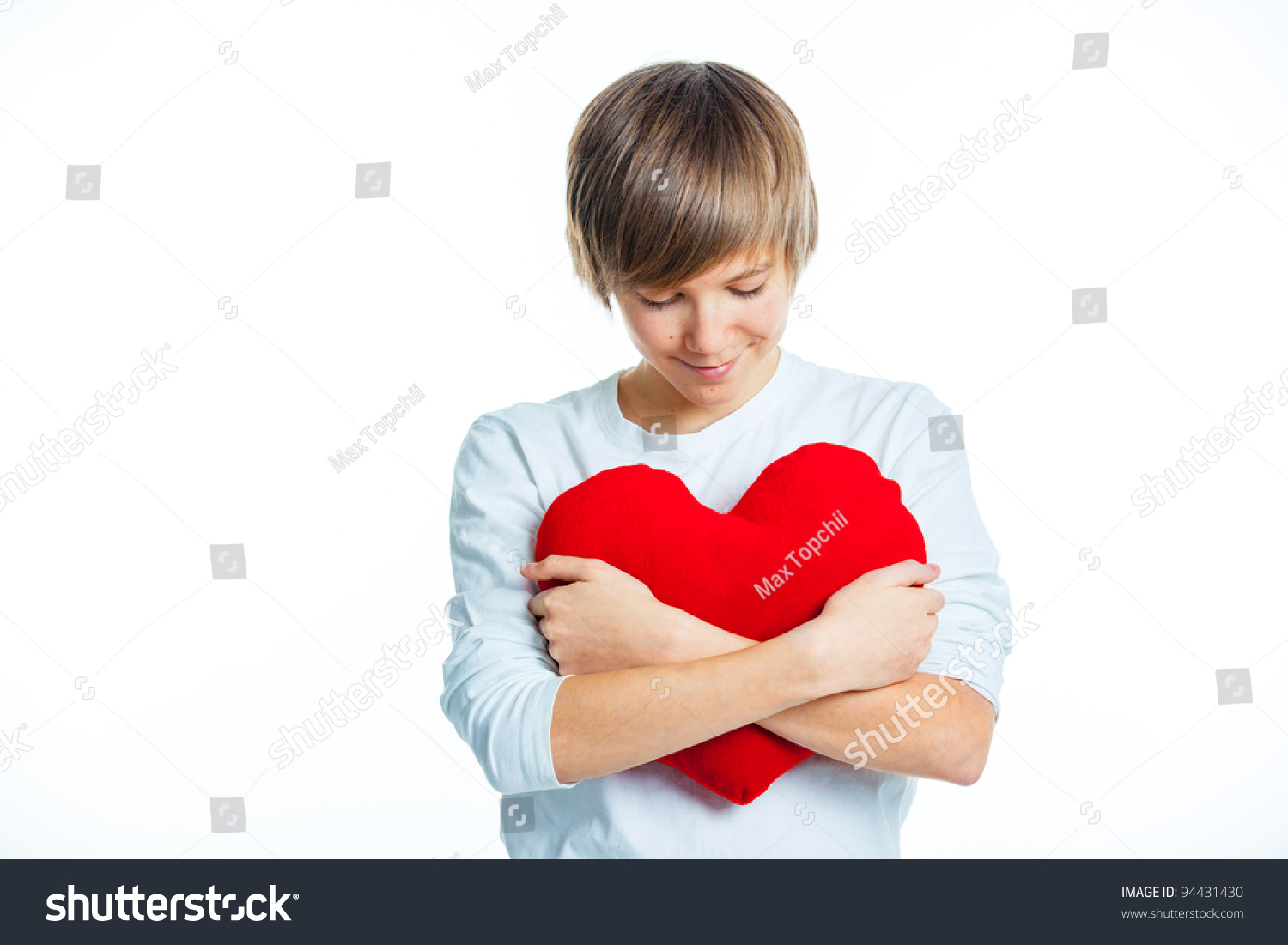 380340f47f76 Cute Young Boy Love Red Plush Stock Photo (Edit Now) 94431430 ...