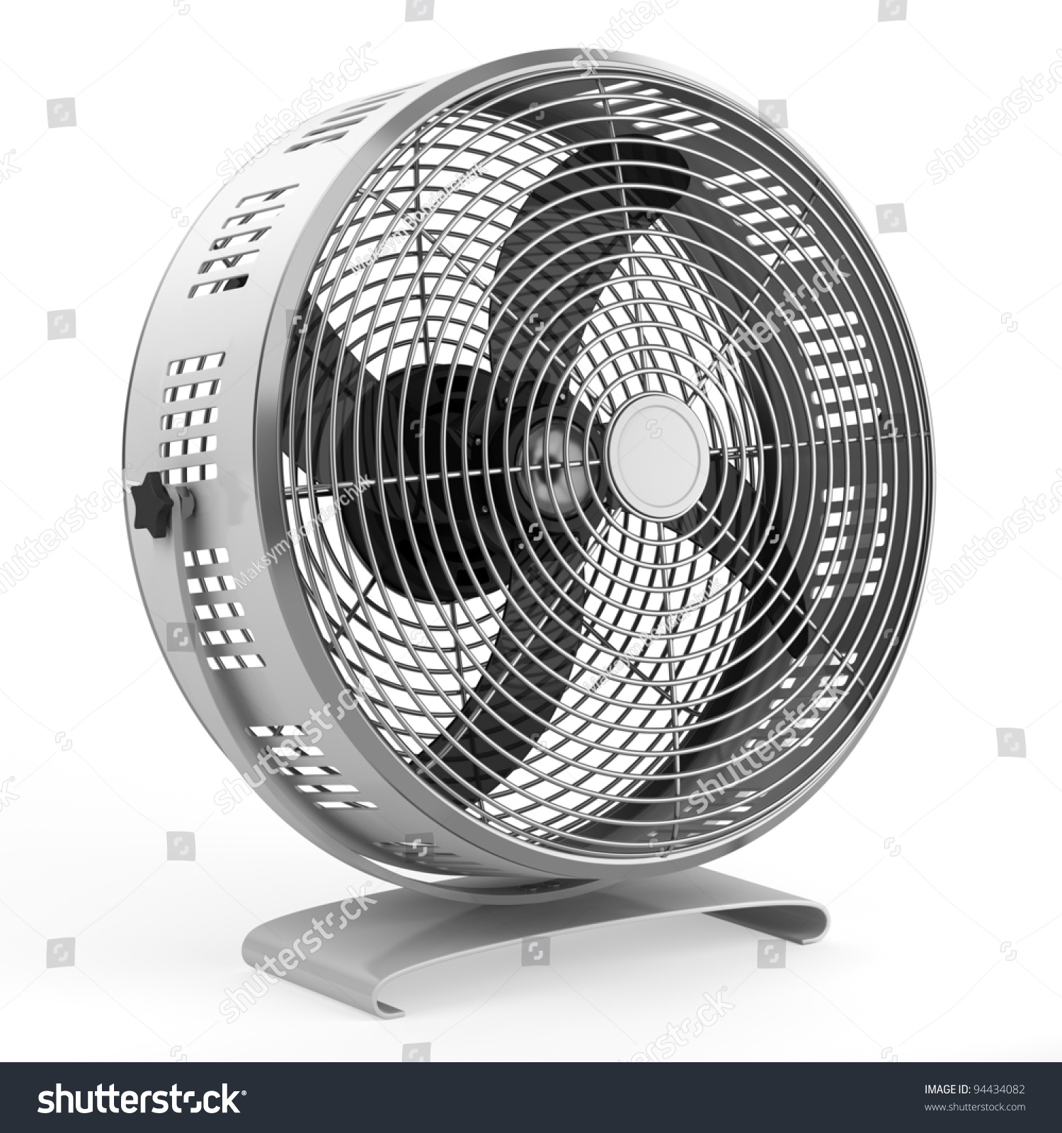 Modern Electric Metallic Fan Isolated On White Background