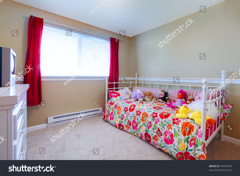 Simple Teenage Bedroom Simple Girls Bedroom With Flowery Bedding Stock Photo 94447828
