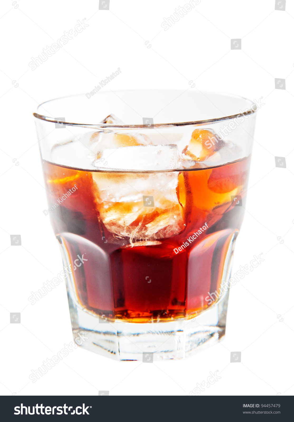 A glass of rum and coke isolated on white background stock for White rum with coke
