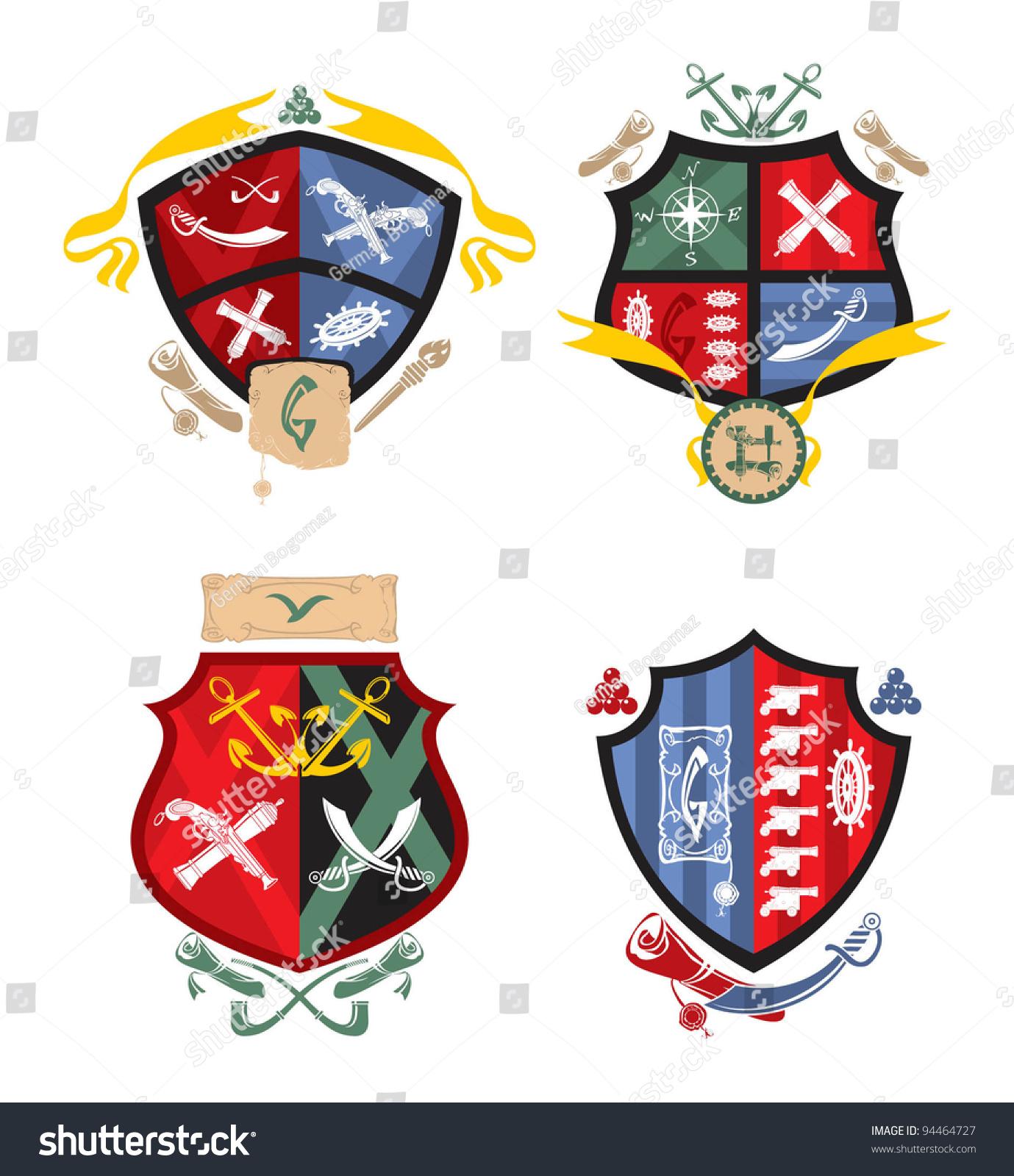heraldry pirate naval arms 3 vector stock vector 94464727