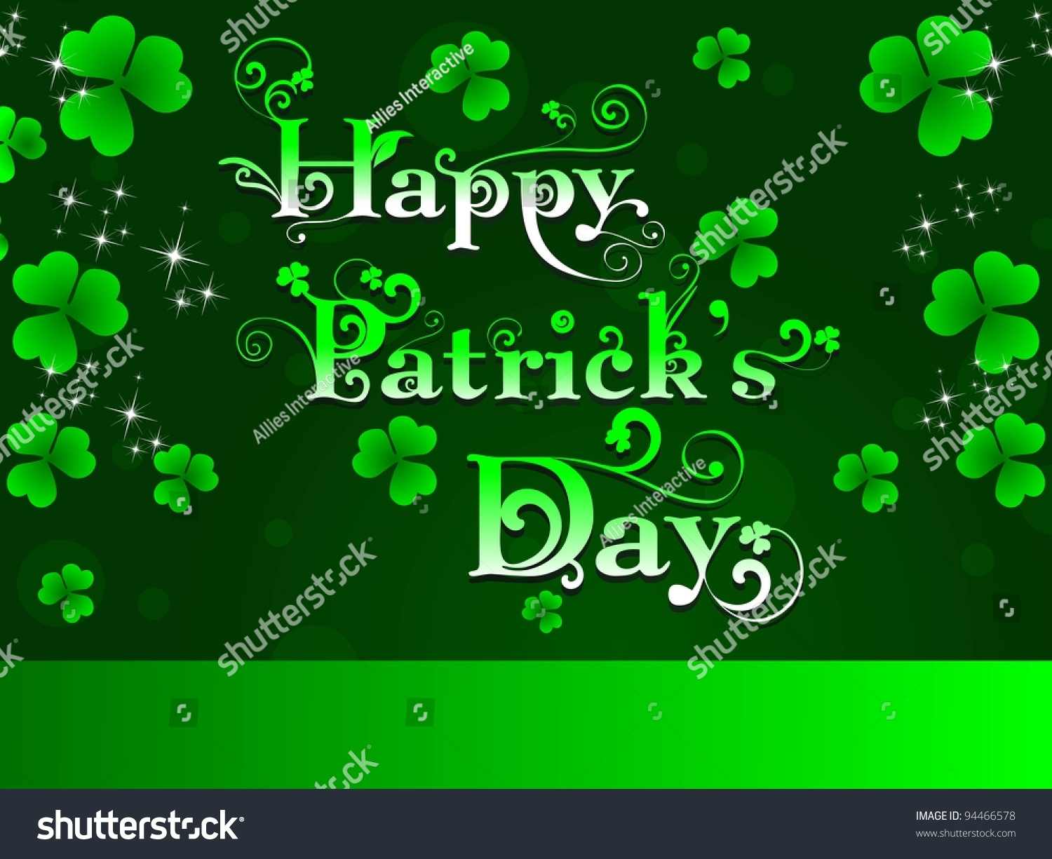 St Patrick Day Greeting Shamrocks Decorative Text Stock Vector